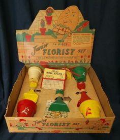 Junior Florist Set Plastic Gardening Toys still in its original cardboard box.  Manufactured by Worcester Toy Co. in Worcester, MA. and dates from the 1950's.
