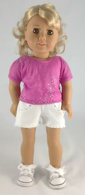 3 Piece Jean Short Set, embellished Jean Shorts, T Shirt & Tennis Shoes | eBay by mjsdollboutique2012 $21.00