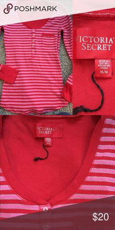 NWOT V-Day VICTORIA'S SECRET Thermal It's freezing outside-put this thermal on before you catch the snots!  Thermal henley from Victoria's Secret. Red and pink striped with silver shimmer interwoven. Size Medium. *NWOT* Victoria's Secret Tops Tees - Long Sleeve