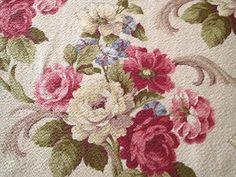 MOST BEAUTIFUL PAIR Vintage Barkcloth ROSES & Scrolls NUBBY PAIR Drape PANELS