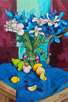Blue Iris on Blue - Angus Wilson Painting Still Life, Still Life Art, Art Aquarelle, Watercolor Art, Abstract Flowers, Abstract Art, Arte Van Gogh, Wilson Art, Guache