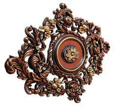 Vines Garden - FAD Hand Painted Ceiling Medallion - Decorative Ceiling Tiles, Inc. Ceiling Tiles, Ceiling Design, Electric Box, Ceiling Medallions, Metallic Colors, Interior And Exterior, Vines, Clock, Hand Painted