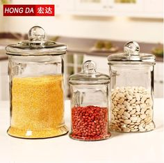 Large Glass Jars Storage Bottles & Jars with Lid for Food (5000ml,3000ml,1150ml)