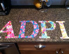 four 4 lilly pulitzer inspired 10 hand painted sorority letters
