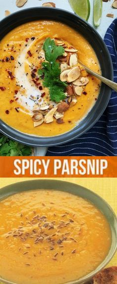 Thai Sweet Potato-Parsnip Soup with Almond Milk, Ginger and Red Curry Carrot And Parsnip Soup, Curried Parsnip Soup, Parsnip Recipes, Healthy Soup Recipes, Veggie Recipes, Cooking Recipes, Vegetarian Soup, Vegetarian Recipes, Spicy Almonds
