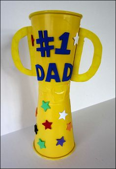 Use a pringles can with a cup for the top.  Preschool Fathers Day Crafts