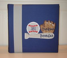 Appliqued Baseball Photo Album Yankees, Cubs and Athletics pictured on Etsy, $30.00
