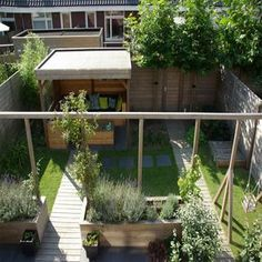 Child friendly backyard, split in two atmospheres! East and Dutch! Garden house and pergola with swi Dutch Gardens, Back Gardens, Small Gardens, Outdoor Gardens, Pergola Swing, Pergola Patio, Backyard Landscaping, Pergola Kits, Pergola Ideas