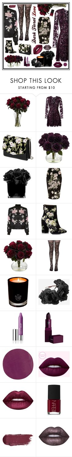 """Dark Floral Love"" by beanpod ❤ liked on Polyvore featuring Zuhair Murad, Rochas, Hervé Gambs, River Island, 3x1, Miss Selfridge, Leg Avenue, EB Florals, Clinique and Lipstick Queen"