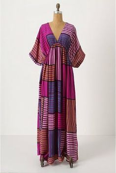Geo Stripe Caftan- From bell sleeve to deep-v to toe skimming hem, this billowy… Mode Kimono, Estilo Hippy, Mode Abaya, Chic Summer Style, Caftan Dress, Silk Dress, Boho, African Dress, Look Fashion