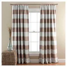 Stripe Curtain Panels Room Darkening - Set of 2 - Taupe : Target