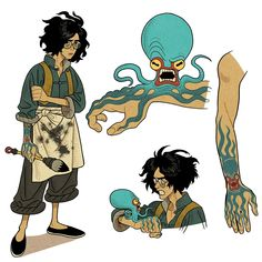 fantasy character concept art for a painter with an octopus tattoo that comes to life. Fantasy Character Design, Character Concept, Character Art, Concept Art, Dnd Characters, Fantasy Characters, Fantasy Inspiration, Character Inspiration, Illustration Design Graphique