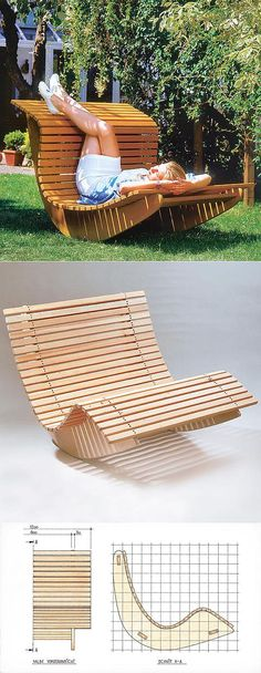 Pallet Outdoor Furniture Summer Waves Wooden Chaise Recliner - DIY outdoor furniture projects aren't just for the crafty or budget-conscious, they allow a refreshing degree of originality.Find the best designs! Pallet Furniture Designs, Furniture Projects, Home Projects, Furniture Stores, Furniture Outlet, Pallet Projects, Discount Furniture, Diy Wooden Projects, Furniture Websites