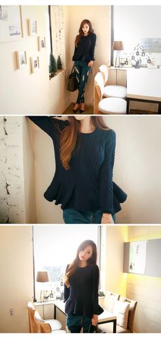 Knit Frilly Hem Sweater - I know you wanna kiss me. Thank you for visiting CHUU.