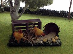 Miniature chickens Dollhouse scale 1:12 by MadeInEven on Etsy
