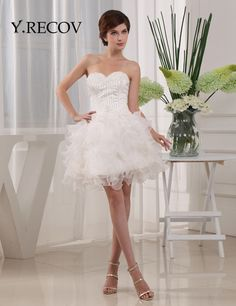 Homecoming Dresses for Junior YD2184 A-line Sweetheart Ruffle Skirt Short White Graduation Dresses for College