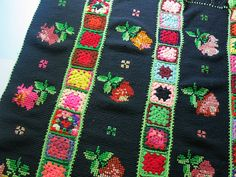 Vintage Granny Square Hand Crochet Afghan Throw Blanket with Colorful Cross Stitch Roses