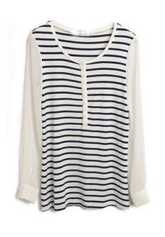 #SheInside Navy White Striped Half Button Placket Chiffon Sleeve T-shirt