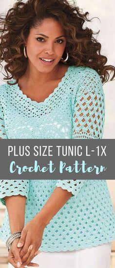 Beautiful plus size women's crochet tunic sweater pattern #crochetsweaterpattern #crochettunicpattern #plussizecrochetpatterns #affiliate