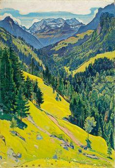 Ferdinand Hodler (Swiss, 1853–1918), Kiental mit Blüemlisalp, 1902. Oil on canvas, 102.5 x 71cm.