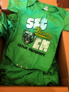 New Baby Baylor Onesies from Waco-local Bear Cotton!