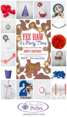 It's a ho-down birthday party for a little cowboy!  A complete charming party delivered to you.  You just add the cake and the food!  By Piece of Cake Parties.  Charming.  Effortless.  Affordable.