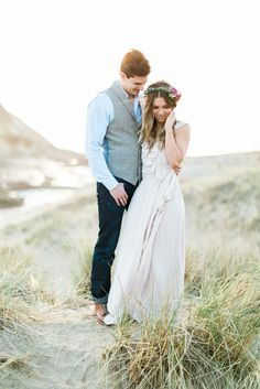 Ceremony by Joanna August   Beautiful Bohemian bridesmaid   Champagne   Style: Lacey Long dress   Real Beach Wedding