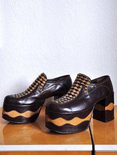 7f851175201 1970s mens glam rock disco vintage platform shoes from spain us size US 9
