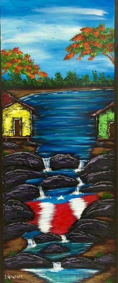 Casitas en el rio con bandera de Puerto Rico al oleo sobre madera
