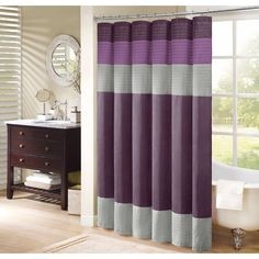 Get the luxury of silk for your bathroom without the price tag or maintenance requirements with this faux silk shower curtain. This purple, two-tone shower curtain with pin-tucking details will add an affluent, regal touch to your space.