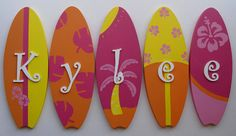 surf board wall decor monogram
