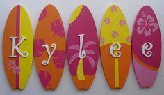 surf board wall decor monogram