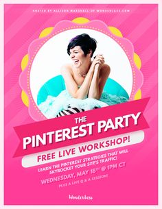 Want to get more traffic to your blog + website? Attend the FREE online Pinterest Party on May 18th! We'll be going over the 28 Pinterest tips I used to massively grow my blog's traffic (by over 800% in just 4 months!)