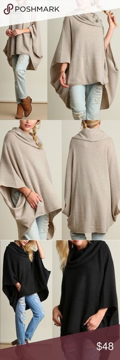 KAYCEE poncho style sweater - OATMEAL Super fun & comfy cowl neck sweater. So chic!   AVAILABLE IN OATMEAL AND DARK CHARCOAL  NO TRADE, PRICE FIRM Bellanblue Sweaters Shrugs & Ponchos
