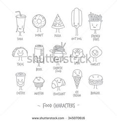 Comic food characters drawing with flat gray lines on white background