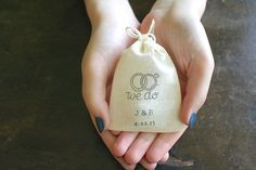 Personalized muslin wedding ring bag from Sweet Clementine Weddings.    Dainty 2.5 x 4 bag is hand stamped with your initials and wedding