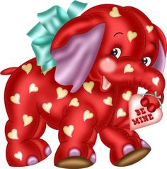 """Photo from album """"My Funny Valentine"""" on Yandex. Baby Elephant Nursery, Happy Elephant, Elephant Love, Elephant Art, Valentine Cartoon, My Funny Valentine, Valentines, Bear Pictures, Cute Pictures"""