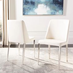 White Leather Dining Chairs, Metal Dining Chairs, Contemporary Dining Chairs, Dining Room Bar, Upholstered Dining Chairs, Dining Chair Set, Side Chairs, Contemporary Design, White Kitchen Chairs