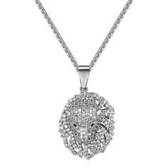 """Cheetah Panther Iced Out Pendant Simulated Diamonds Free Necklace Men 1.3"""" Charm"""