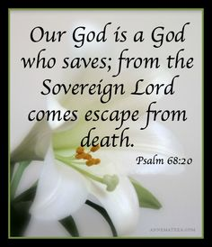 Psalm 68:20 (NKJV) ~~ Our God is the God of salvation; and to GOD the Lord belong escapes from death.