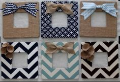 DIY fabric picture frames with burlap