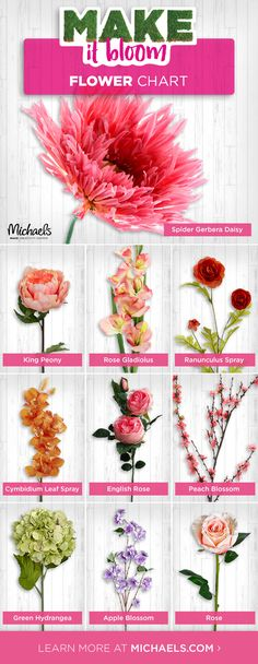 DIY bouquets, centerpieces, flower arrangements, and more with this handy flower chart!