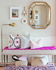 This would make a great entryway to the studio. gold + pink!