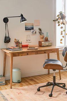 #HomeDecorShops Home Office Inspiration, Room Inspiration, Bedroom Desk, Small Desk For Bedroom, Small Desk Space, Living Room Desk, Small Desks, Home Office Desks, Wood Office Desk