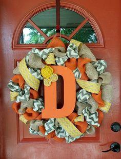 Fall Burlap Wreath by WreathAddictionbyT on Etsy, $60.00