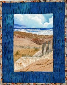Karen Eckmeier - beach quilt embellished with beads and yarns Again, I'd love to print and transfer for scale dollhouse wall hanging or quilt (RM) Ocean Quilt, Beach Quilt, Photo Quilts, Landscape Art Quilts, Miniature Quilts, Textile Fiber Art, Quilting, Fabric Art, Art Pictures