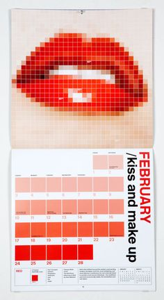 "Eddie Opara and Brankica Harvey of Pentagram designed the Pantone 2013 wall calendar as a way to re-contextualize familiar Pantone color matching chips into ""colorful 'digitized' images for each mo. Calendar Layout, 2013 Calendar, Calendar Wall, Blank Calendar, Graphic Design Magazine, Magazine Design, Flyer Poster, Design Bauhaus, Kalender Design"
