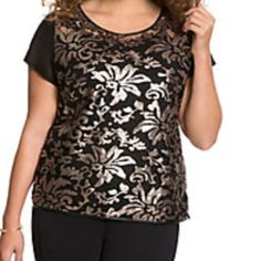 NWT Lane Bryant Gold Sequin Lace Front Top The back is sheer black and the front is a thin lace with floral antique gold sequins sown on top of the black lace. Super beautiful top. The back of the shirt isn't as sheer as chiffon. Lane Bryant Tops