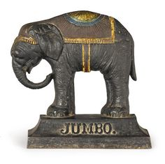A late Victorian/early Edwardian molded and painted cast iron circus elephant-form door stop century Antique Iron, Vintage Iron, Jumbo The Elephant, Cast Iron, It Cast, Iron Doors, Door Stop, Kitsch, 19th Century