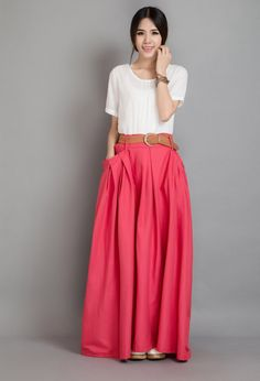 Watermelon Red Linen Maxi Skirt Full Skirt Pleated by Lantingstyle